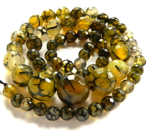 Yellow Green Fire Agate    Graduated Faceted Round Necklace 18""