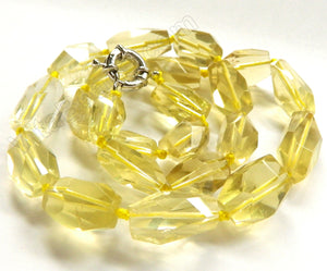 "Lemon Qtz Natural AAA  -  Machine Cut Tumble Necklace 18""    Size Graduated     12 x 15 mm to 14 x 20 mm"