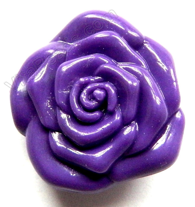 Double Side Carved Rose Pendent Synthetic Purple Stone