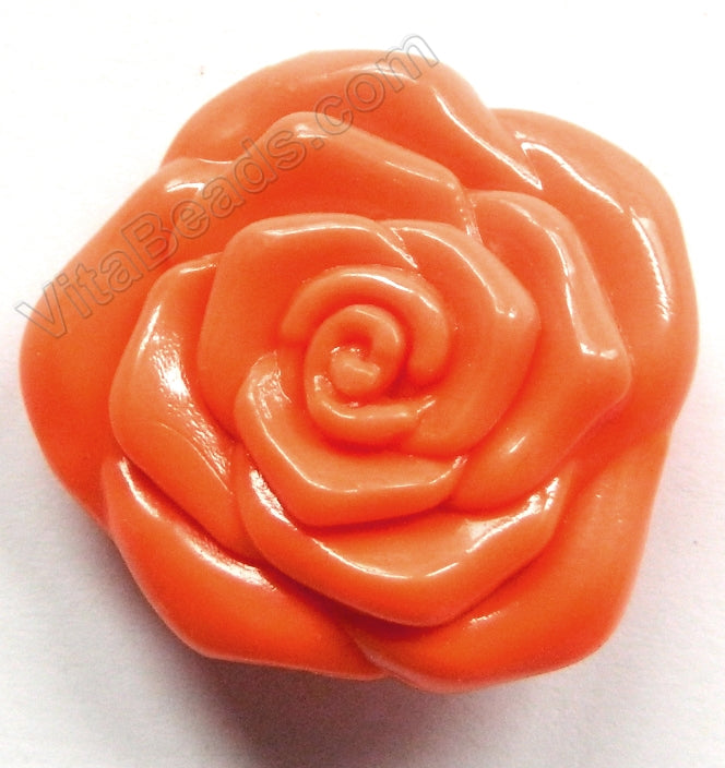 Double Side Carved Rose Pendent Synthetic Orange Coral