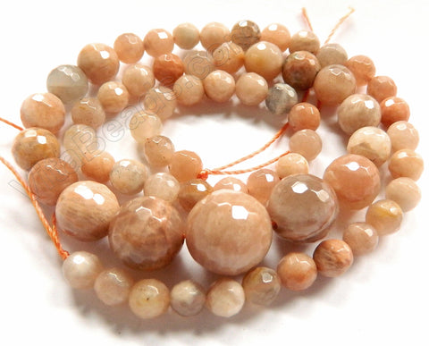 "Pink Moonstone     Faceted Round Necklace 18"" no clasps"