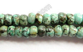 Africa Turquoise  -  Smooth Rondels  16""