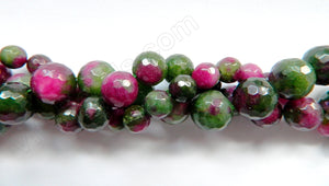 Ruby Zosite Jade  -  Faceted Round  16""