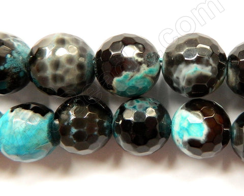 Black Aqua Blue Fire Agate  -  Faceted Round  16""