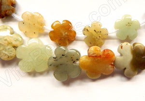 "Fire New Jade  -  Carved 5 Petal Flower Strand  16""    15 mm"