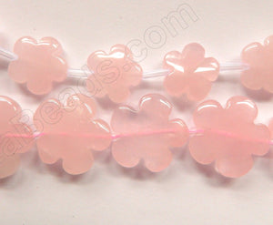 Rose Quartz  -  Carved 5 Petal Flower Strand  16""