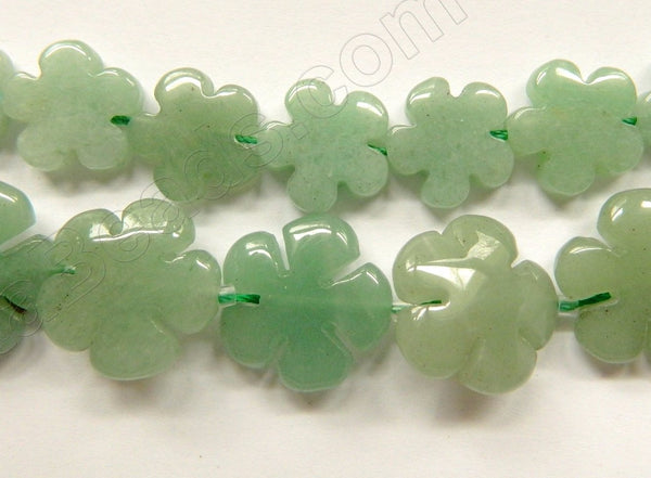 Green Aventurine Light  -  5 Petal Flower Strand  16""