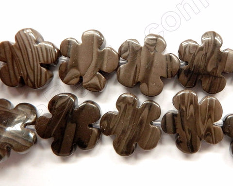 "Coffee Jasper  -  Carved 5 Petal Flower Strand  16""    20 mm"