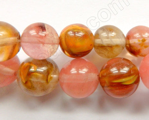 Mixed Cherry Quartz  -  Big Smooth Round Beads 16""