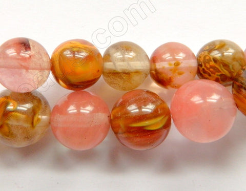Mixed Yellow Cherry Quartz  -  Smooth Round Beads 16""