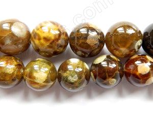 Turtle Fire Agate  -  Big Smooth Round Beads  16""