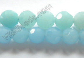 Frosted Aquamarine Jade  -  Faceted Dot Round 16""
