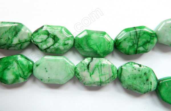 Turquoise Green Brazilian Agate  -  Irregular Faceted Flat  16""