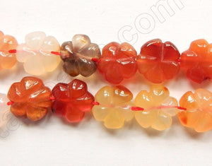 "Natural Carnelian -  Carved 5-Petal Flower Strand  16""    12 mm"