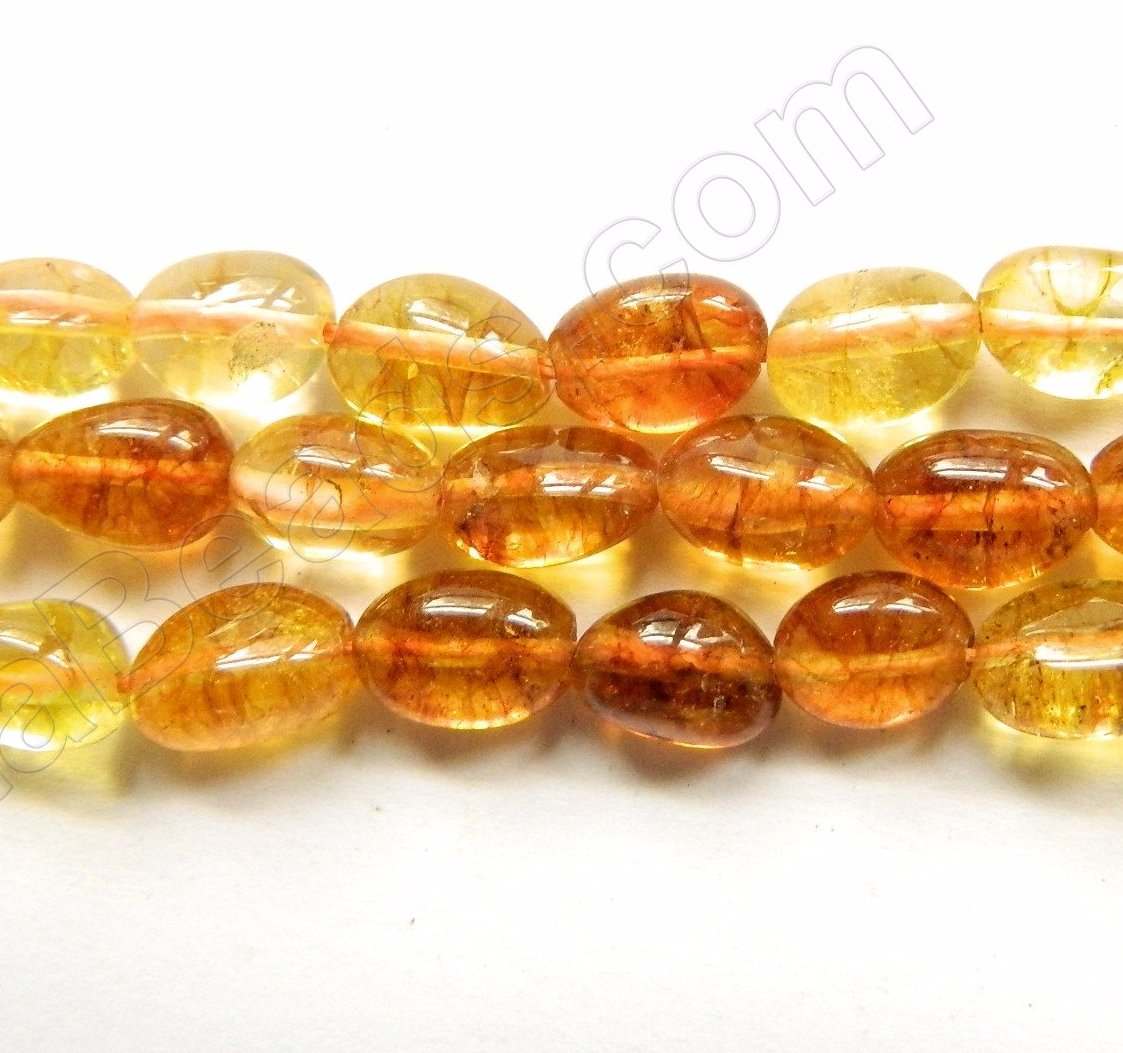 "Amber Quartz   -  Small Smooth Tumble  16""     8 x 10 mm"