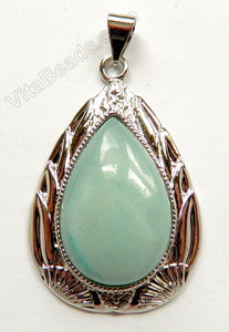 Amazonite - 30x50mm Smooth Teardrop Pendant w/ Bail &. Setting
