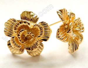 Gold Plated Copper Carved Rose Earring Set