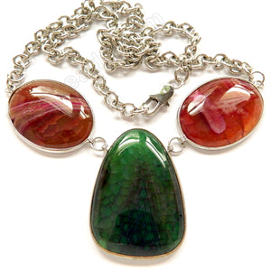 Dark Green and Red Fire Agate 3 Piece Set Necklace 26""