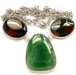 Light Green and Red Fire Agate 3 Piece Set Necklace 26""