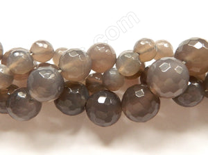 Grey Agate  -  Faceted Round