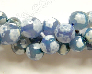 DZi Agate Light Sky Blue  -  Faceted Round