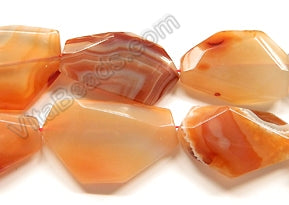 Natural Carnelian   -  Big Irregular Faceted Flat  16""