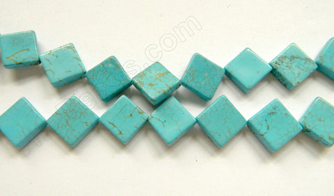 "Cracked Blue Chinese Turquoise  -  Flat Diamond  16""    14 mm"