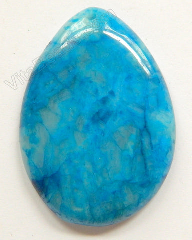 Smooth Pendant - Big Puff Teardrop Blue Crazy Lace Agate