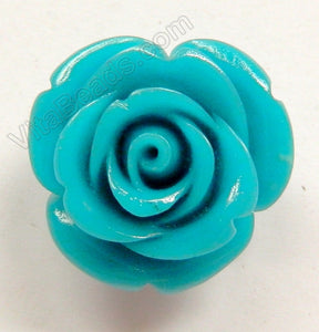 Carved Small Rose Pendent Synthetic Blue Robin Qtz