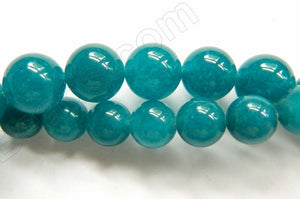 London Blue Green Jade  -  Smooth Round Beads