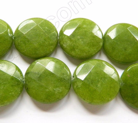 Olive Jade  -  Faceted Coin  16""