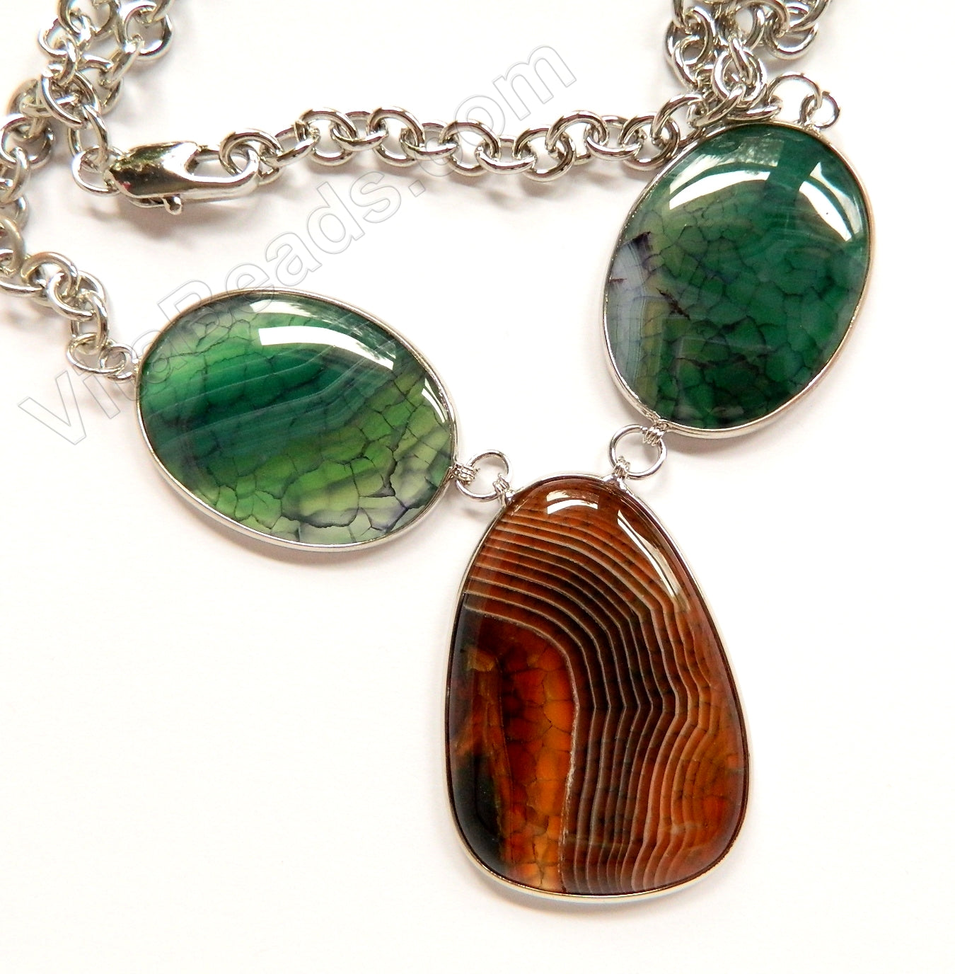 Red and Green Fire Agate 3 Piece Set Necklace 26""