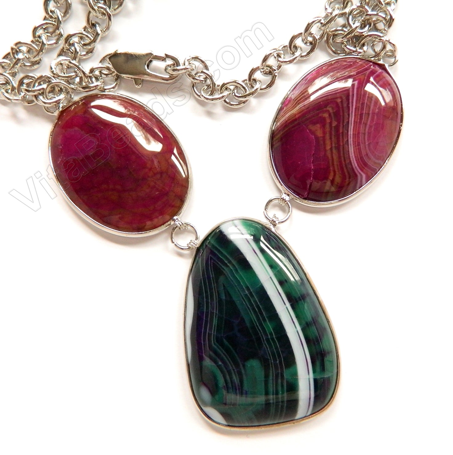 Dark Green and Fuchsia Fire Agate 3 Piece Set Necklace 26""