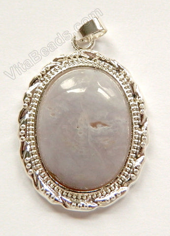 Pendant - Smooth Oval w/ Bail Grey Brazilian Agate Light