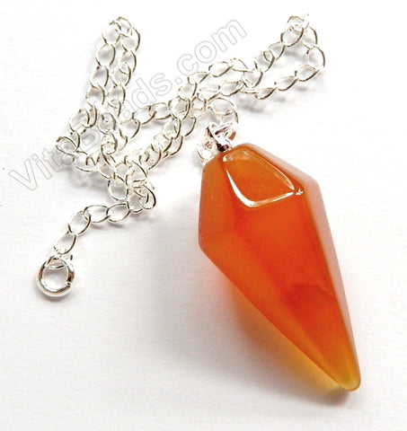 "Faceted Pendulum Pendant with 8"" Silver Chain - Natural Carnelian"