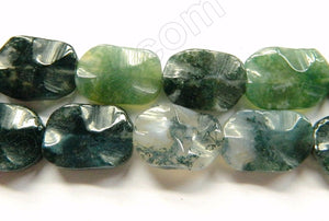 Moss Agate  -  Wave Flat Rectangle Ovals  16""