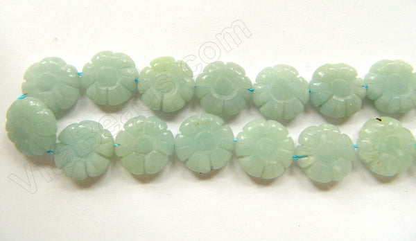 Amazonite AA  -  Carved Daisy Flower  16""