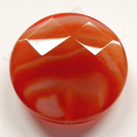 Thick Faceted Round Pendant - Natural Carnelian Dark