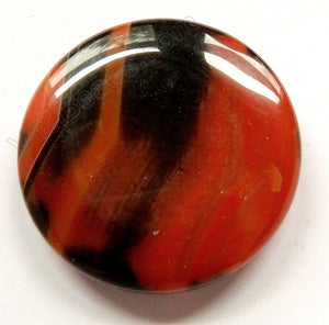 Pendant - Round Black Red Agate