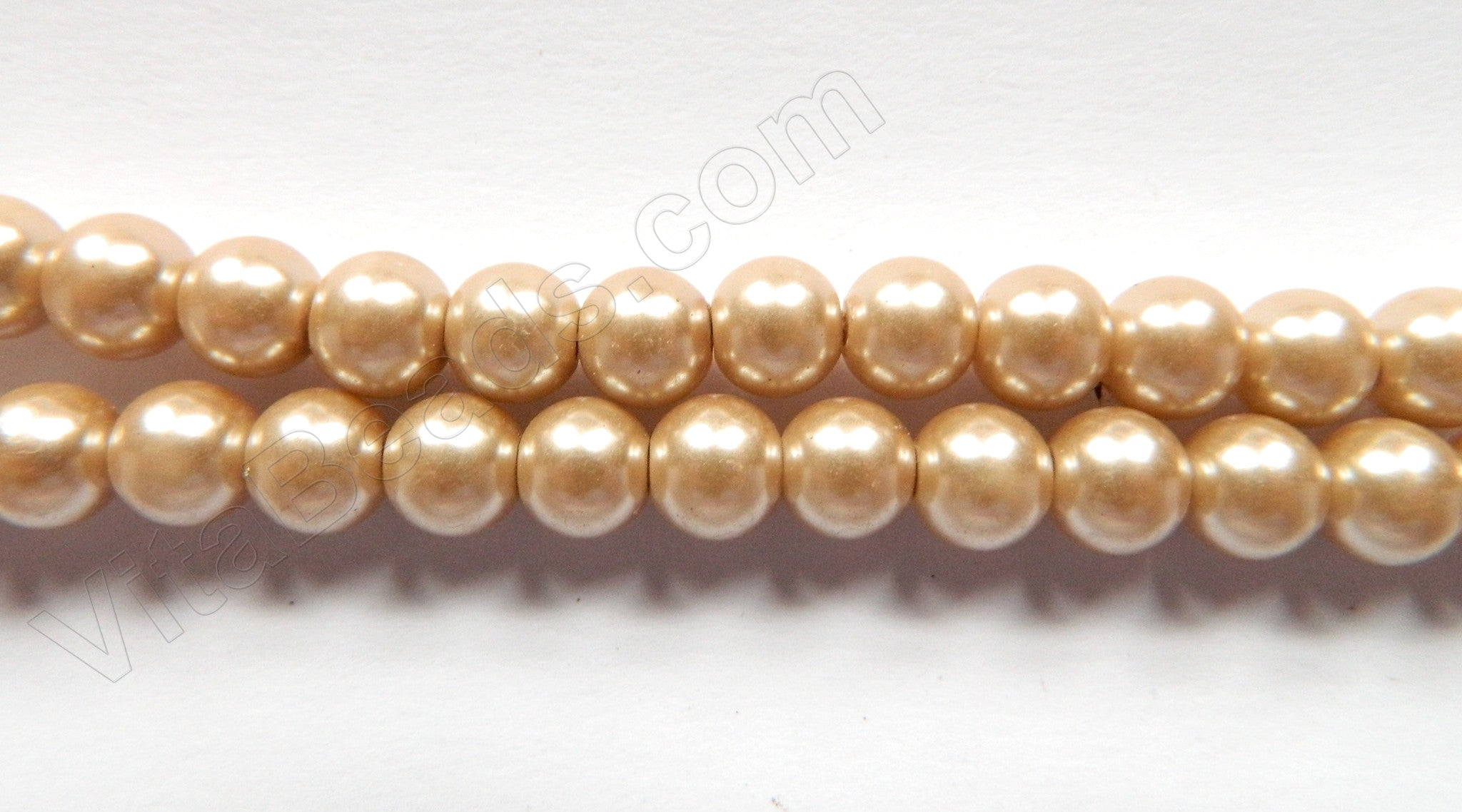 "Glass Pearl   -  Light Satin Brown  -  Smooth Round  16""     10 mm"