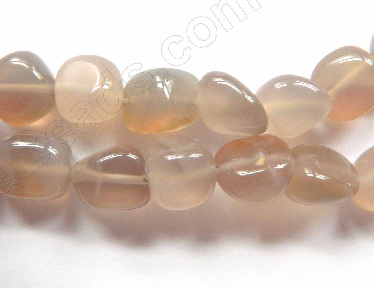 Warm Grey Agate  -  10-12mm Smooth Tumble  16""