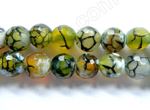 Yellow Green White Fire Agate  -  Faceted Round 16""