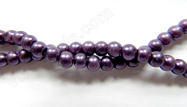 "Glass Pearl   -  Dark Purple  -  Smooth Round  16""  6mm"