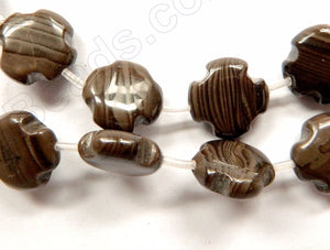 Coffee Jasper  -  Puff Cross Flower Strand  16""