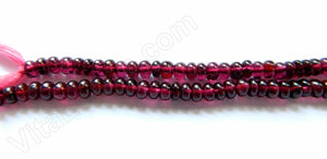 Garnet A  -  Smooth Rondels, Plain Button  16""