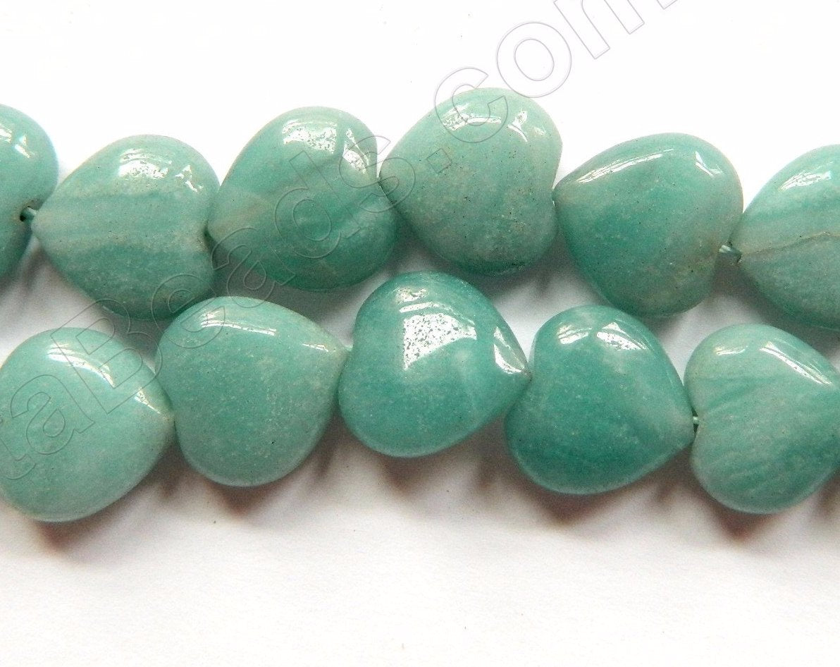 Chinese Amazonite A  -  Puff Hearts  16""