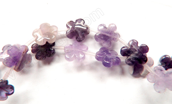 "Sage Amethyst  -  Carved 5 Petal Flower Strand  16""    15 mm"