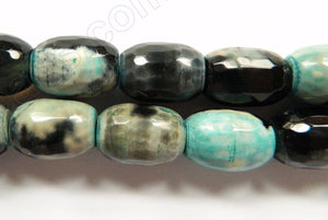 Black Aqua Fire Agate  -  Faceted Drum  16""