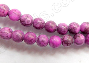 "Fuchsia Ocean Fossil  -  Smooth Round Beads  16""     10 mm"