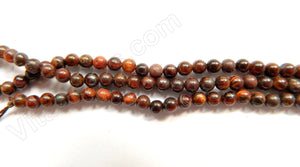"Red Tiger Eye  -  Smooth Round   16""     4mm"